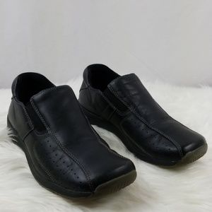 Bass Mens Black Leather Loafers Sz 9